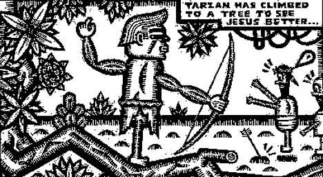 Matti Hagelberg teki Angoulêmen sarjakuvafestivaaleilla kunniaa Burne Hogarthin Tarzanille.