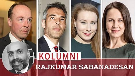 Jussi Halla-aho (vas.), Hussein al-Tae, Iiris Suomela ja Veronika Honkasalo.