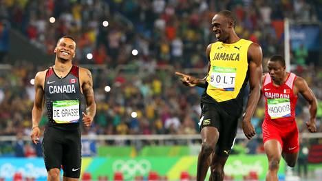 Andre De Grasse pani Usain Boltin ahtaalle Rion 200 metrin välierässä, mikä nauratti supertähteä.