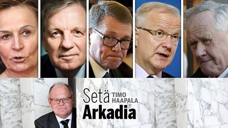Anneli Jäätteenmäki (vas.), Esko Aho, Matti Vanhanen, Olli Rehn ja Seppo Kääriäinen.