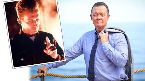 Vasemmalla: Robert Patrick toimintaelokuvassa Terminator 2 – tuomion päivä. Oikealla: Robert Patrick kertoi Monte Carlon tv-festivaaleilla uransa alkuvaiheista.