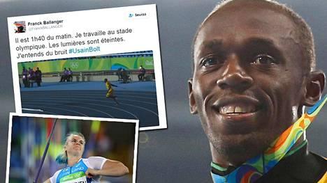 Usain Bolt kokeili keihäänheittoakin Rion olympiastadionilla.