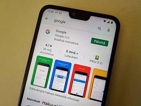 Google-sovelluksen etsiminen Play-sovelluskaupasta ja päivitä-napin painamisen tulisi ratkaista ongelma.