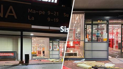 Tältä liikkeen edustalla näytti tapahtumien jälkeen varhain perjantaiaamuna, kun myymälässä suoritettiin tarkastus- ja korjaustoimenpiteitä.