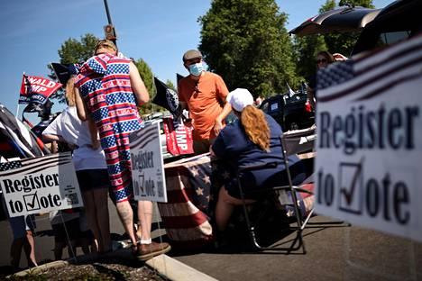 Trumpin kampanja järjesti kansalaisille tilaisuuden rekisteröityä äänestäjäksi Oregon Cityssa 7. syyskuuta.