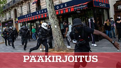 Ranskassakin osoitettiin viikonloppuna mieltä rasismia ja poliisiväkivaltaa vastaan.