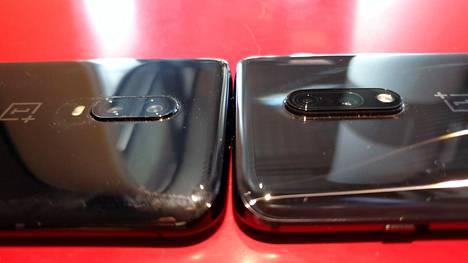 Kamera on parannus edeltäjään, mutta se myös näkyy ulkoisesti. OnePlus 7:n kamerakyttyrä (oikealla) on merkittävästi suurempi kuin 6T:ssä.