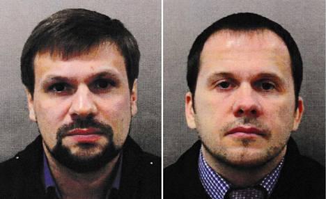Boshirov (vas.) ja Petrov Britannian poliisin julkaisemissa kuvissa.