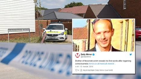 Poliiseja Novitshok-hermomyrkylle altistuneen miehen kotitalon edustalla Amesburyssä 5. heinäkuuta 2018.