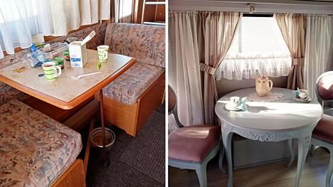 Raili Lähteenmäki osti puolisonsa kanssa asuntovaunun, jossa on riittänyt laittamista. Nyt se on oman näköinen. Kuvassa oleskelutila ennen ja nyt (oikealla).