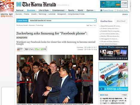 Korea Herald raportoi Mark Zuckerbergin (kesk.) tavanneen Samsungin johtajia Soulissa.