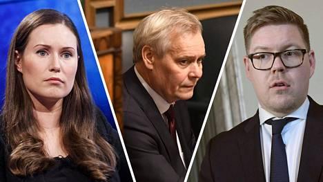 Pääministeriksi Antti Rinteen paikalle arvioidaan nousevan joko Sanna Marinin (vasemmalla) tai Antti Lindtmanin (oikealla).