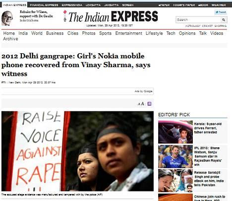 The Indian Express uutisoi näyttävästi uhrille kuuluneen Nokian puhelimen löytymisestä.