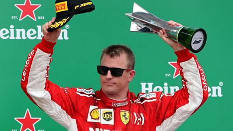 Kimi Räikkönen sijoittui kolmanneksi Brasilian F1-osakilpailussa.