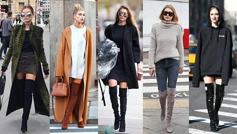 Mallit Hailey Baldwin, Gigi Hadid ja Chiara Ferragni näyttävät mallia ylipolvensaappaiden yhdistelyssä.