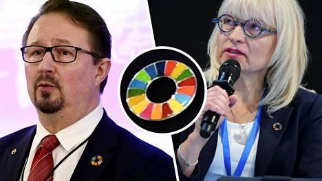 THL:n johtaja Mika Salmisen ja STM:n Hyvinvointi- ja palveluosaston osastopäällikkö Päivi Sillanaukeen rinnuksissaan kantama merkki on herättänyt huomiota.