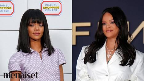 Rihanna otsatukalla ja ilman. Kumpi tyyli mielestäsi sopii hänelle paremmin?