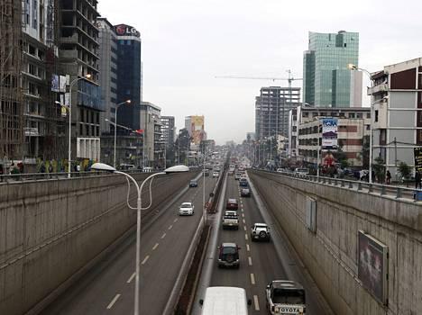 Liikennettä Etiopian pääkaupungissa Addis Abebassa.