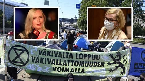Paula Risikko (kok) kuvattuna eduskunnan suullisella kyselytunnilla 20. toukokuuta.