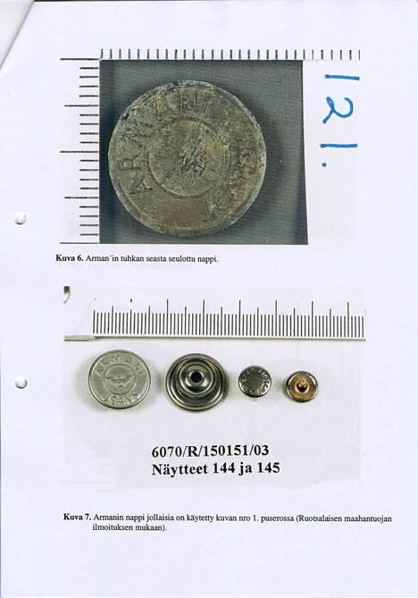 Kuvassa tuhkan seasta seulottu Armanin nappi. Alempana Armanin nappeja, joita käytetään Armanin puseroissa.