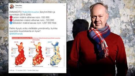 Tutkija Timo Aro haluaa herätellä ihmisiä huomaamaan, mitä seurauksia Suomen väestökehityksellä on tulevaisuudessa.