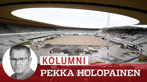 Tältä Olympiastadionin työmaa näytti noin vuosi ennen perusparannuksen valmistumista, elokuussa 2019.