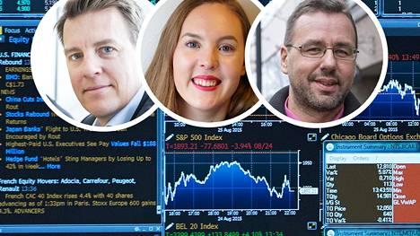 Sijoitusammattilaiset Martin Paasi, Sven-Eric Holmström ja Essi Sarkakari-Kosamo eivät lähtisi myymään osakkeitaan toukokuuilmiön ehdottamalla tavalla.