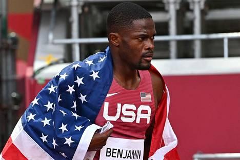 Rai Benjamin otti olympiahopeaa.