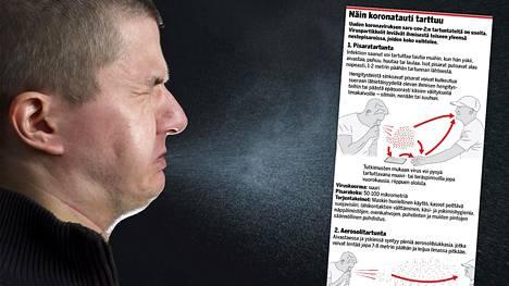 Korona leviää tutkijoiden mukaan lähinnä pisaratartuntana. Hihaan yskiminen ja maskin käyttö estävät pisaroiden roiskumista.