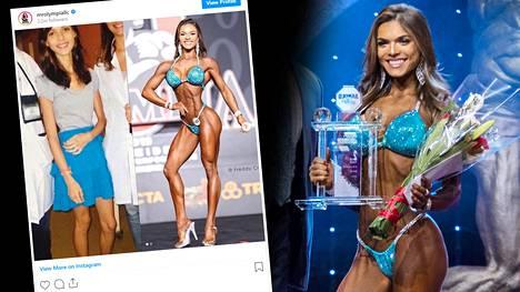 Kuva oikealla: Brasilialainen Elisa Pecini Arnold Classic -kilpailussa vuonna 2019. Ennen fitnessuraansa hän kärsi vakavasta anoreksiasta.