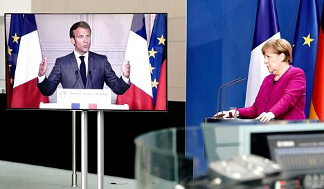 Emmanuel Macron ja Angela Merkel pitivät maanantaina yhteisen etätiedotustilaisuuden.