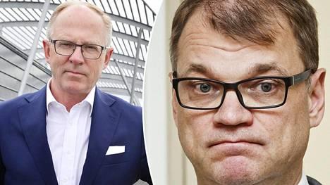 Pääministeri Juha Sipilä (oik.) kommentoi Finnairin Vauramon lisäeläkettä.