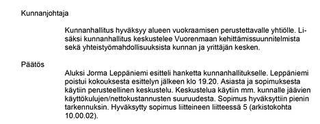 Soinin kunnanhallitus hyväksyi sopimuksen maanantaina.