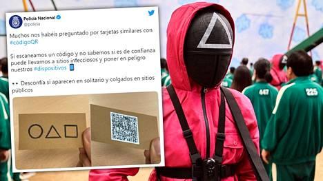 Espanjan poliisi varoittaa kansalaisia Twitterissä kaduille ilmestyneistä Squid Game -korteista.