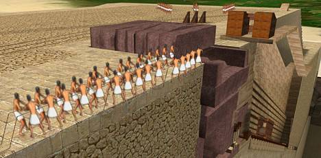 Ranskalainen arkkitehti Jean-Pierre Houdin uskoo, että pyramidit rakennettiin spiraalinmuotoisen rampin avulla. Dassault-konsernin julkaisema havainnekuva näyttää, kuinka rakentajat saivat valtavat kalkkikivi- ja graniittilohkareet ylös pyramidin huipulle saakka.