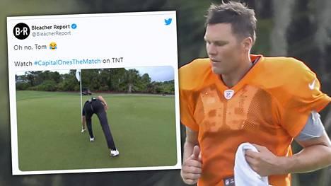 Tom Bradyn housut repesivät hienon lyönnin jälkeen.