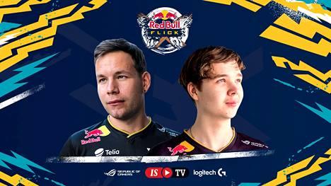 """Aleksi """"allu"""" Jalli (vasemmalla) ja Elias """"Jamppi"""" Olkkonen edustivat ENCEä näytösottelussa. Supertähdet hävisivät ottelun selvästi karsintavoittajille, joita epäillään nyt huijareiksi."""