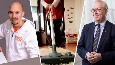 Koti Puhtaaksi Oy:n kehitysjohtaja Henri Haho ja Akavan puheenjohtaja Sture Fjäder haluaisivat kotitalousvähennyksiin muutoksia.