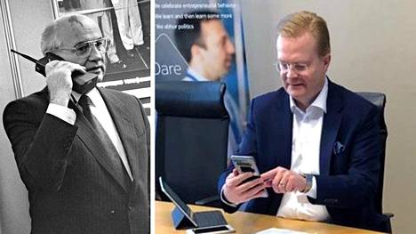 Vasemmalla: Neuvostoliiton kommunistisen puolueen pääsihteeri Mihail Gorbatsov soittaa Nokian Cityman 900 matkapuhelimella 1989. Oikealla: Nokian Tommi Uitto sai keskiviikkona Pietarista videopuhelun Espooseen, kun Venäjä testasi ensi kertaa 5g-yhteyksiään ulkomaille.