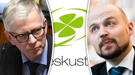 Keskustan kansanedustajat Ari Torniainen (vas.) ja Mikko Kärnä.