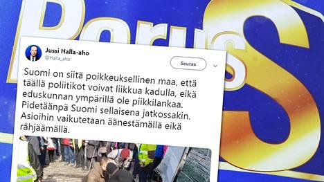 Jussi Halla-aho kommentoi Korson tapahtumaa, jossa Timo Soinia yritettiin lyödä.
