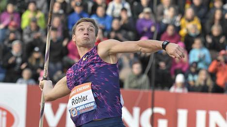Thomas Röhler voitti viimevuotiseen tapaan Paavo Nurmen kisojen keihäänheiton.
