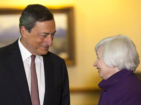 Euroopan keskuspankin pääjohtaja Mario Draghi ja Yhdysvaltain keskuspankin pääjohtaja Janet Yellen.