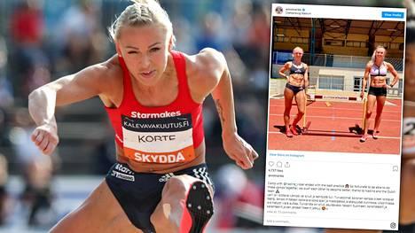 Viime kaudella SM-kultaa pika-aidoissa voittanut Annimari Korte ja Nadine Visser kirittivät toisiaan harjoitusleirillä.