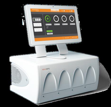 Novoviag-testilaitteessa on neljä moduulia, joihin testikasetti sijoitetaan. Laitteita voi sijoittaa neljä päällekkäinen, jolloin samanaikaisesti voidaan testata 16 näytettä.