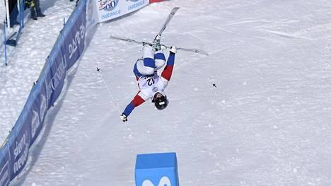 Jimi Salonen vauhdissa MM-kisoissa.