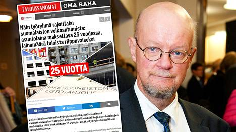 Valtiovarainministeriön asettama työryhmä ehdottaa, että suomalaisten asuntolainojen enimmäisajaksi tulisi asettaa 25 vuotta. Osmo Soininvaara (vihr) kannattaa pitkiä laina-aikoja.
