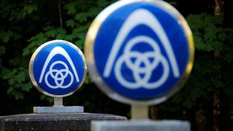 Thyssenkruppin logoja Saksan Lorchissa.