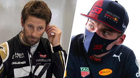 Haas-kuski Romain Grosjean (vas.) ei jäänyt sanattomaksi Red Bullin Max Verstappenin menettäessä totaalisesti hermonsa Silverstonen huippunopeassa mutkassa.