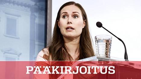 Pääministeri Sanna Marin kertoi valtioneuvoston päätöksistä torstaina Helsingissä.